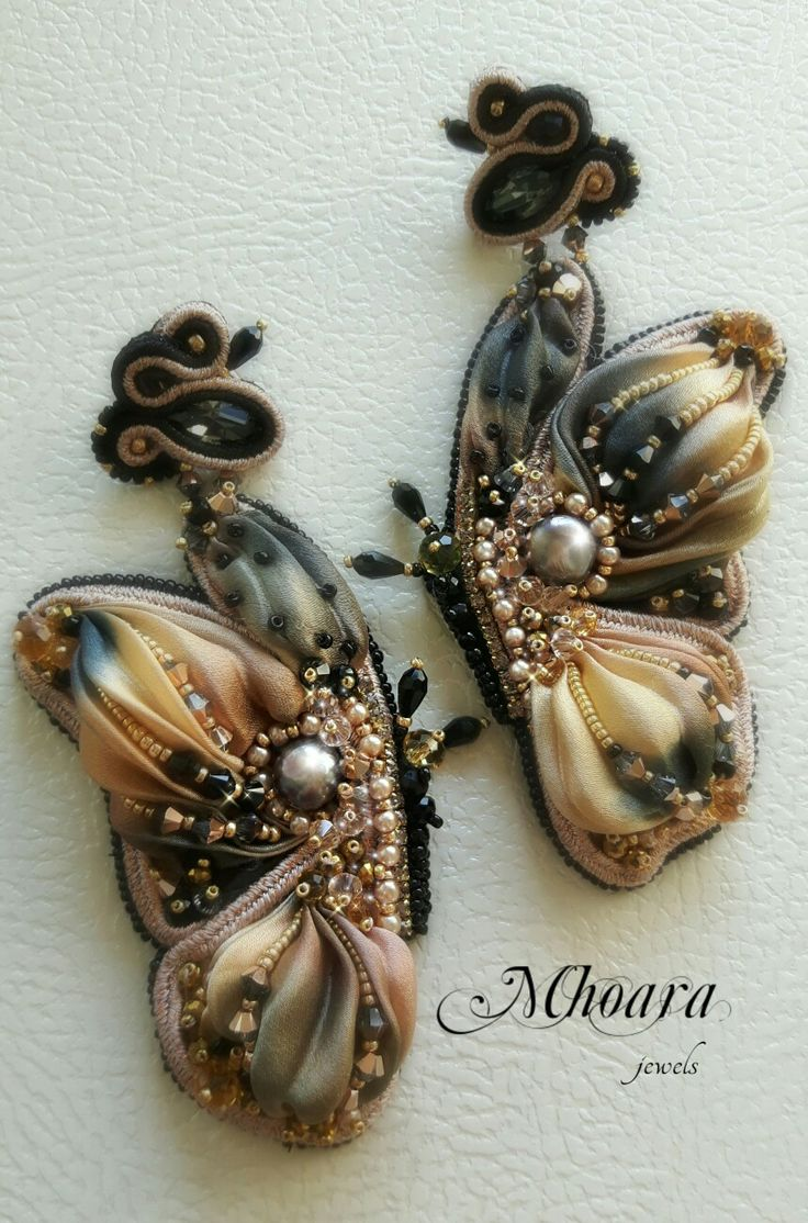 ' Rose Gold & Black Butterfly ' shibori silk and soutache by Mhoara j