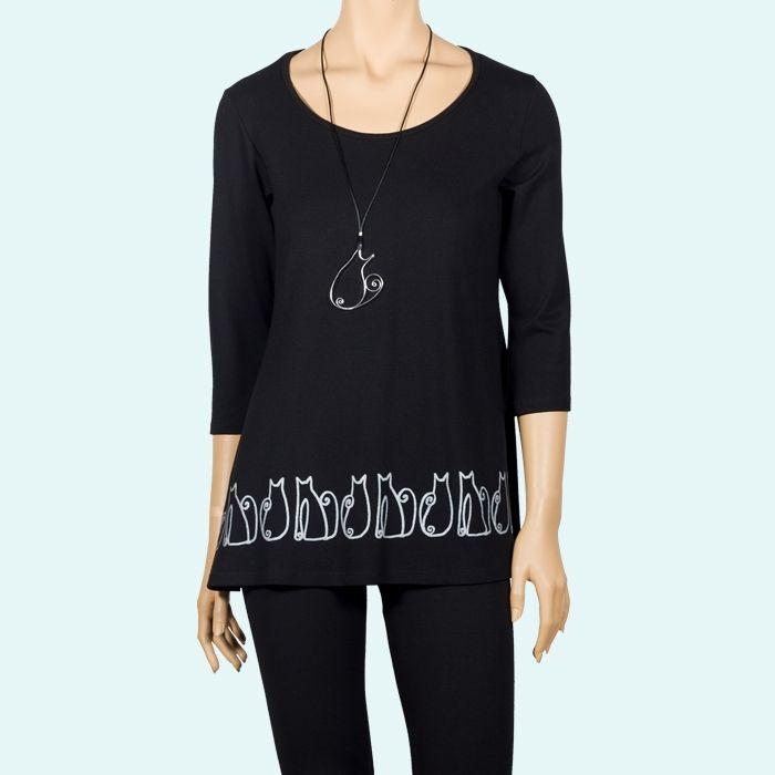 Camiseta larga con una cenefa estampada de gatos #Negro #Gatetes #serigrafía