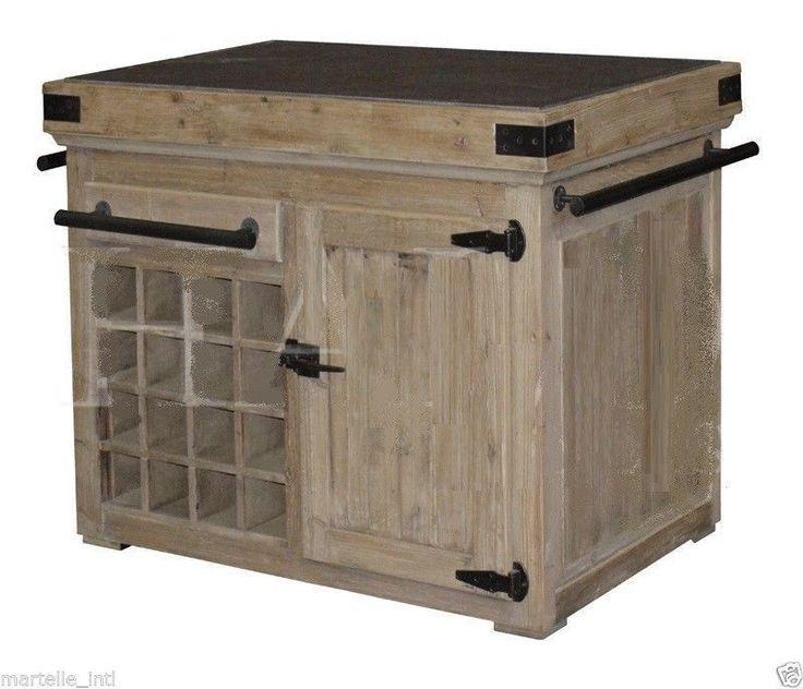 Kitchen Island Wine Cabinet Rack Antique Reclaimed Pine