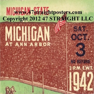 Michigan football tickets turned into the best Michigan football gifts. http://www.shop.47straightposters.com/1942-Michigan-State-vs-Michigan-Football-Ticket-Coasters-42-MICH.htm