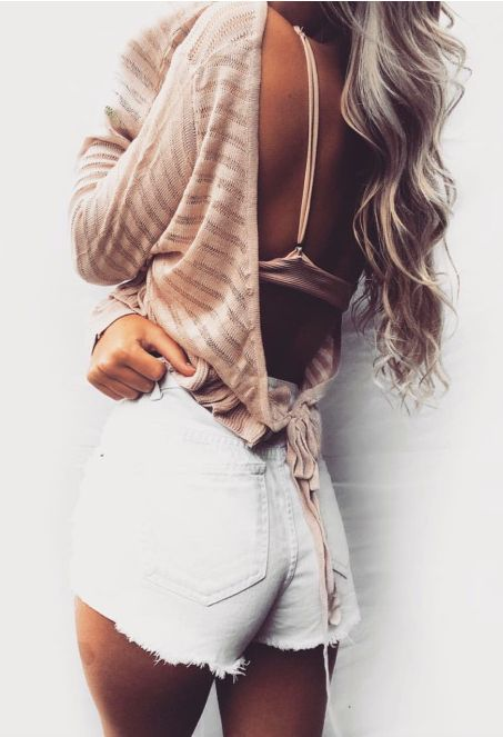 free people open back sweater + high waisted shorts