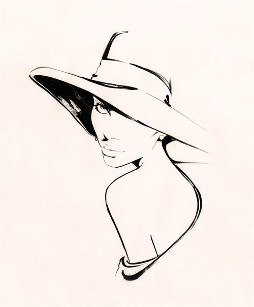 Nuno Da Costa, Contemporary Fashion and Beauty Illustrator (nuno dacosta,girl,hat,sketch)