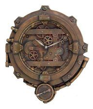 Steampunk Office Decor | Steampunk Wall Clock With Thermometer Victorian Scifi Figurine Decor ...