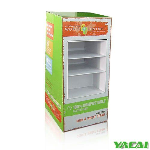Full printed Custom Pop Display for Disposable Dishes Plate Cardboard Cabinet with 3 trays to display your products all of our Displays are customized welcome to send us your products info for a FREE design service and professional sulution. http://www.popyacai.com/Cardboard_Display/Cardboard_Countertop_Displays/paper_display_rack_China.html