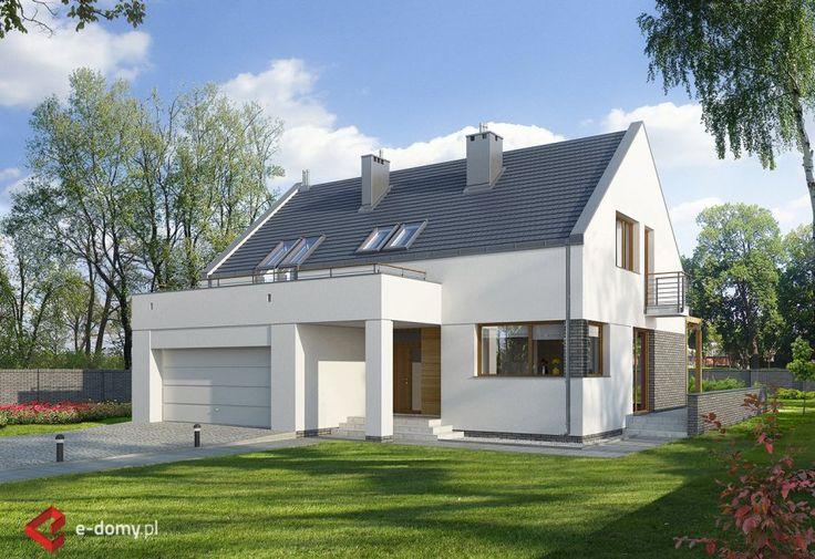 E-102, Nowoczesny dom z garażem dwustanowiskowym | E-DOMY