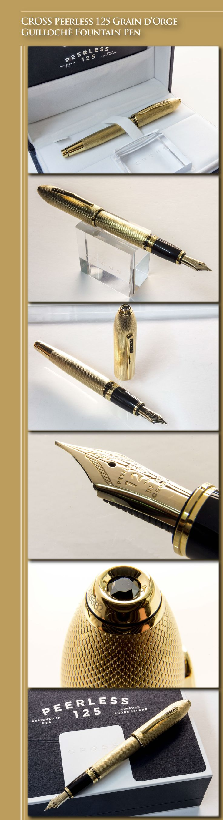 CROSS Peerless 125 Grain d'Orge Guillochè Fountain Pen (metal body 23kt gold-plated, gold-plated trim, 18kt gold nob) - 2014 / USA