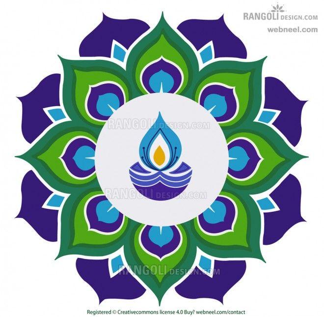 diya peacock rangoli design for diwali