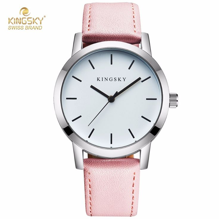 nice Fashion Design Women Watches KINGSKY Brand Wrist Watch Pink PU Leather Strap Luxury Clock For Ladies