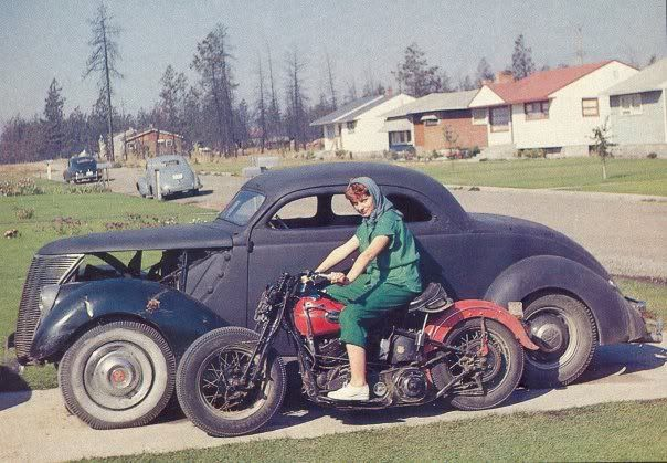 '37 Ford Coupe and Knucklehead Harley