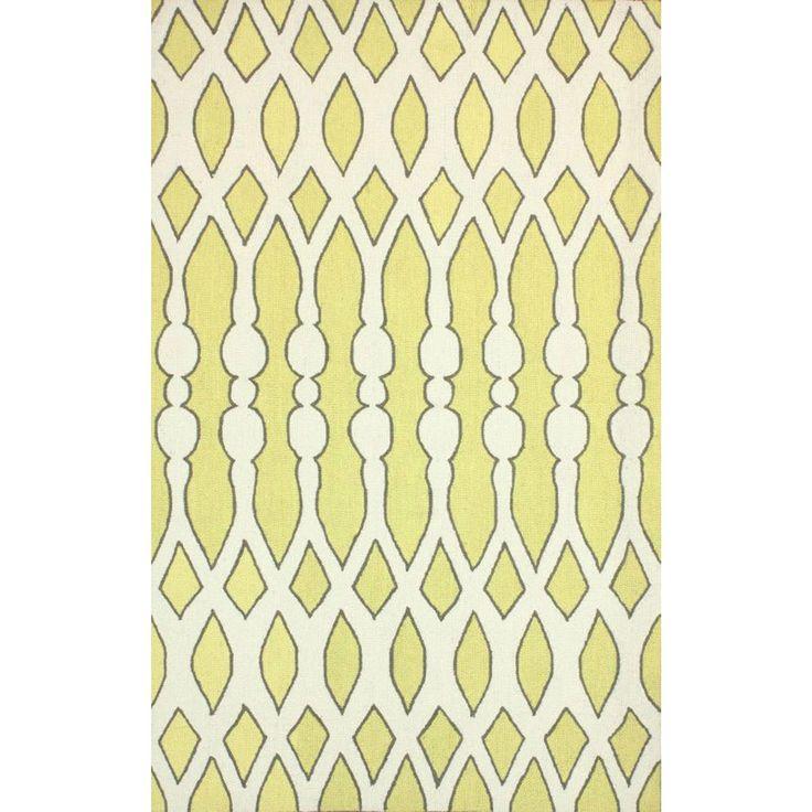 nuLOOM Handmade Wool Modern Aztec Trellis Light Lime Rug (3'6 x 5'6) (Yellow), Grey