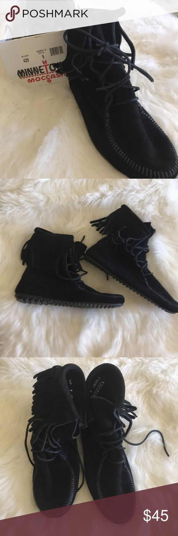 Black moccasin boots Barley worn black authentic moccasin boots for sale Minnetonka Shoes Moccasins