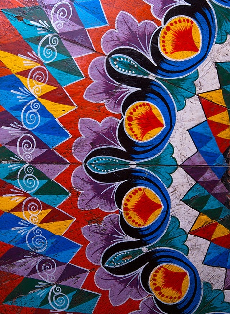 hand painted wooden Oxcart Wheel/ central highlands, Costa Rica/IMG_0325.CR2 by Jerry Rodgers, via Flickr