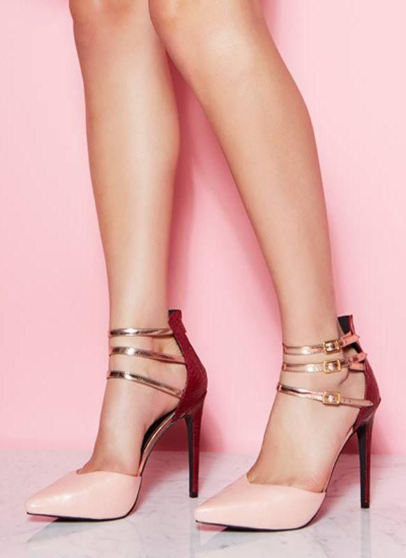 Pink and Rose Gold Heels find www.misspool.com