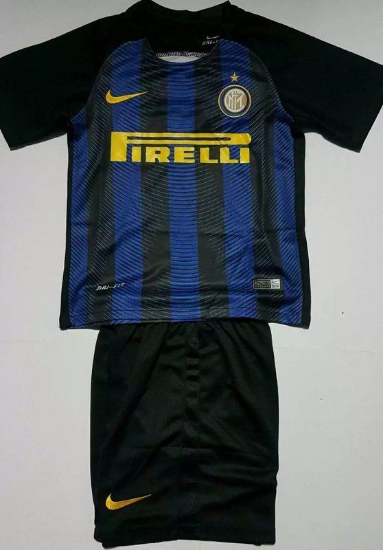 Italia Serie A 16/17 Inter Milan home kids soccer kit. ICARDI boys football jersey