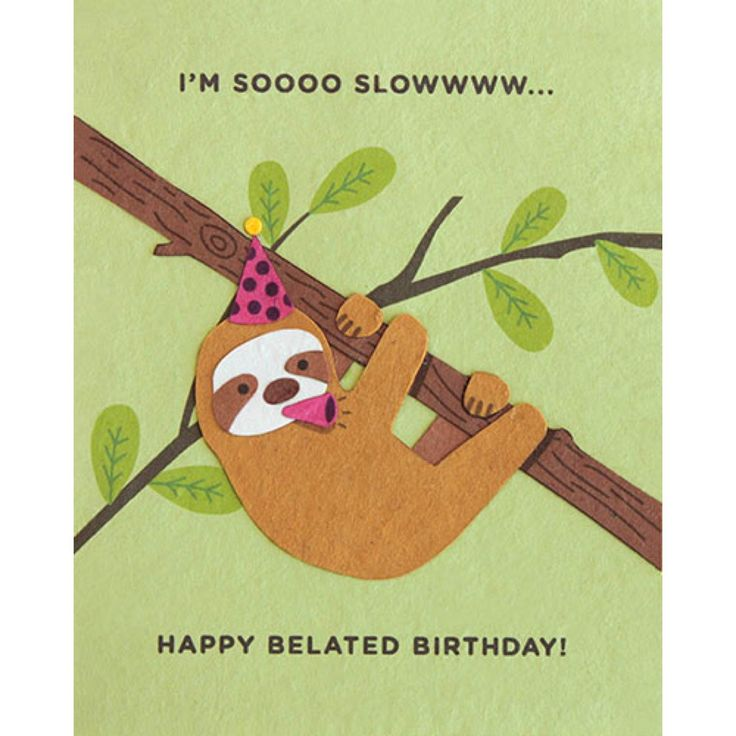 """Our """"Sloth Belated Birthday"""" card is lovingly handcrafted in the Philippines by women survivors of sex trafficking. The card incorporates a variety of handmade, recycled papers, making it environmenta"""