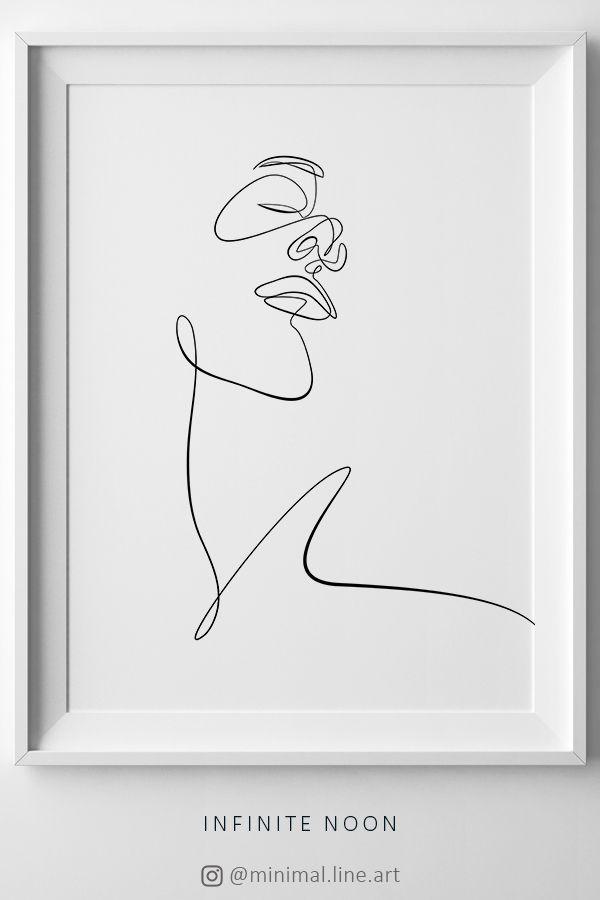 Minimalism Face Sketch Print, Printable One Line Drawing, Simple Single Line Face Artwork, Minimal Woman Face Wall Art, Scandinavian Decor