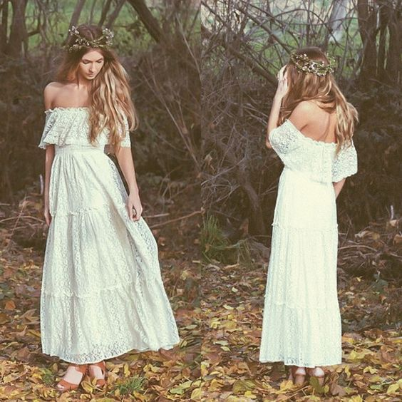 Bohemian 2015 Vintage Wedding Dress Off-the-shoulder Lace Ivory Or White Hippie Wedding Dress Embroidered Maxi Lace Dress Bridal Gowns 61303