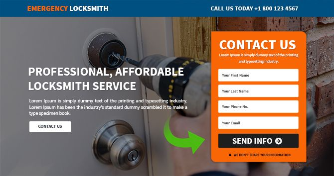 If you are looking for mobile responsive locksmith service landing page design then please go through our mobile optimized responsive landing page template design by http://buylandingpagesdesign.com