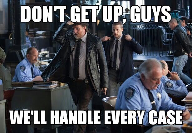 Are there any other cops besides Gordon and Harvey who actually have cases, or....<<<exactly how I feel! You have no idea!