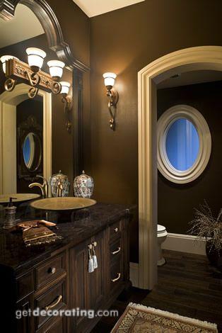 Beautiful Brown and Cream Powder Room... Beautiful bathroom interior design ideas and decor.