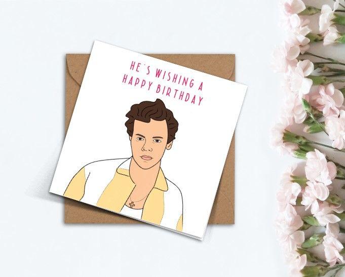 Harry Styles Birthday Card Watermelon Sugar One Direction Handmade Cute Card Celebrity Card Birthday Cards Cute Cards Personal Cards