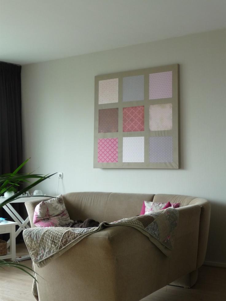kunstwerk voor op de muur, gemaakt van een geverfd schildersdoek + scrappapier