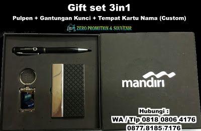 Jual Gift set 3in1 Pulpen + Gantungan Kunci + Tempat Kartu Nama (Custom)