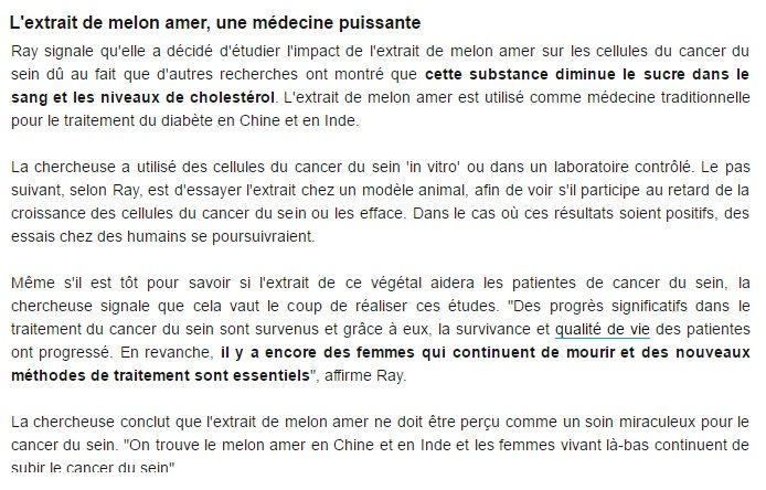 L'extrait de Melon Amer contre le cancer du sein | astuces hijab