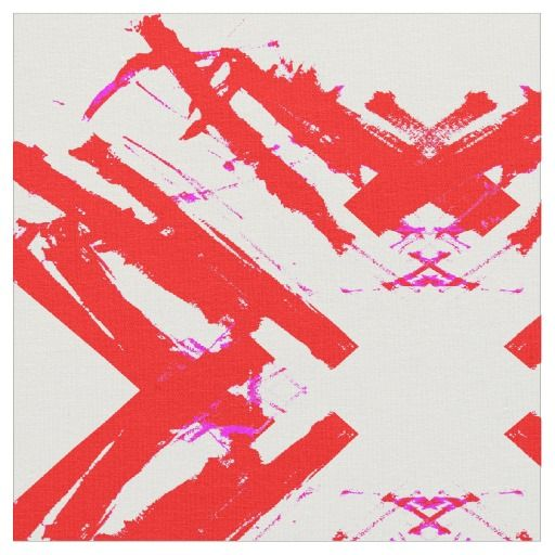 Abstract Red White Magenta Neon Fabric