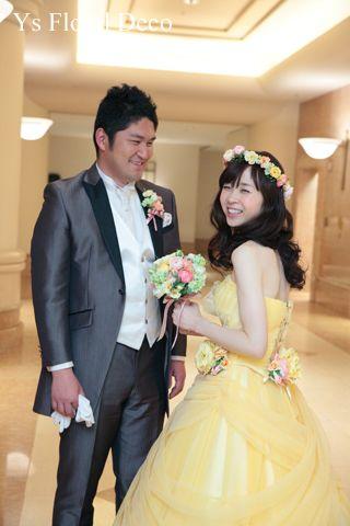 hk00299 黄色のドレスに黄色ピンクの花冠&ブーケ ys floral deco @ヨコハマグランドインターコンチネンタルホテル