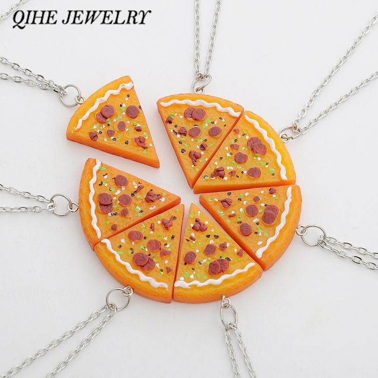 QIHE JEWELRY 7 PCS In 1 Set Pizza Necklace Best Friends Forever Necklace For Women Men Children Friendship Best Gifts colar http://amzn.to/2srNHSZ