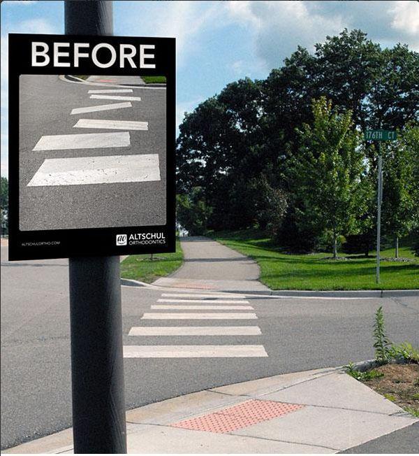 Antes y después...Excelente cartel publicitario de dentistas #publicidad #StreetMarketing