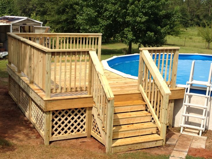 12x16 deck on round pool my projects pinterest pools for Pool deck design plans