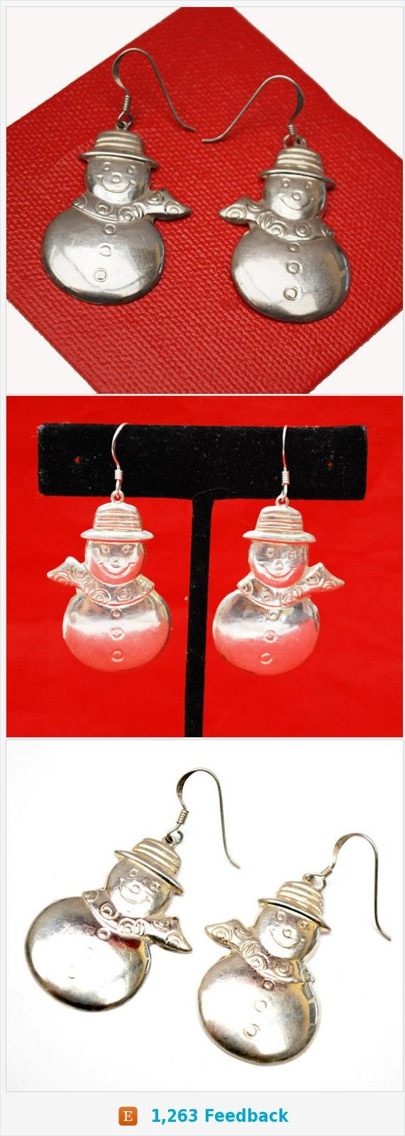 Sterling Snow Man Earrings - Silver Holidaychristmas - Winter figurine dangle earring https://www.etsy.com/serendipitytreasure/listing/545801668/sterling-snow-man-earrings-silver?ref=listing_published_alert