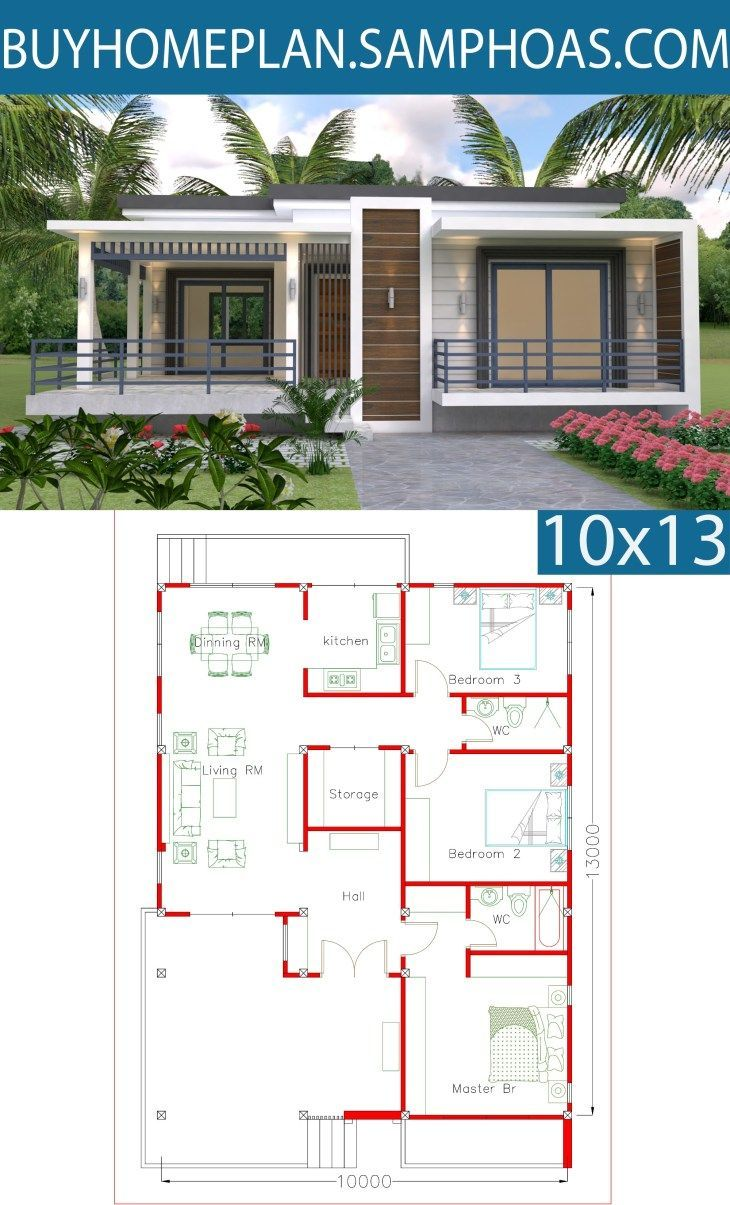 Sketchup Home Design Plan 10x13m With 3 Bedrooms Samphoascom Simple House Design Home Design Plan House Design