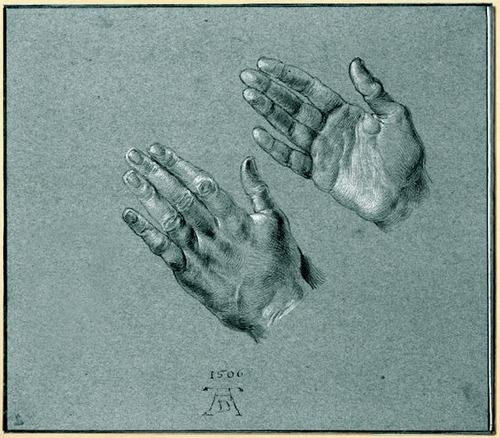 Albrecht Dürer - Hands of Emperor Maximilian I - 1506. Watercolor and gouache on blue paper.