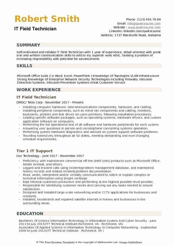 Computer Technician Job Description Resume Elegant It Field Technician Resume Samples In 2020 Resume Skills It Support Technician Resume