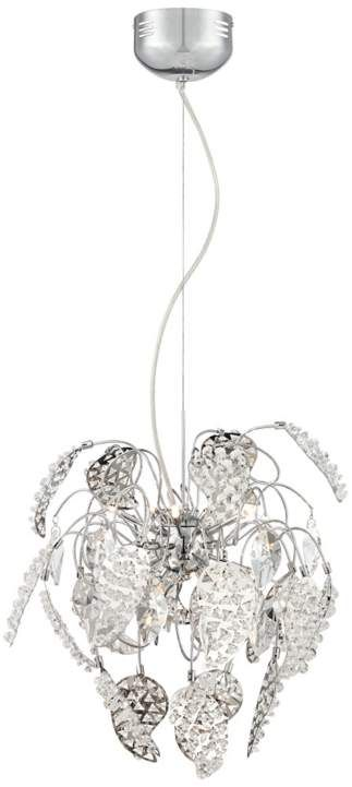 Letia Chrome Leaf Crystal 18-Inch-H Modern Pendant Light #interior_design #chandeliers  See more http://www.eurostylelighting.com/chandeliers-category/search.htm