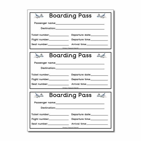 Flight boarding pass worksheet classroom decoration for Rp templates free