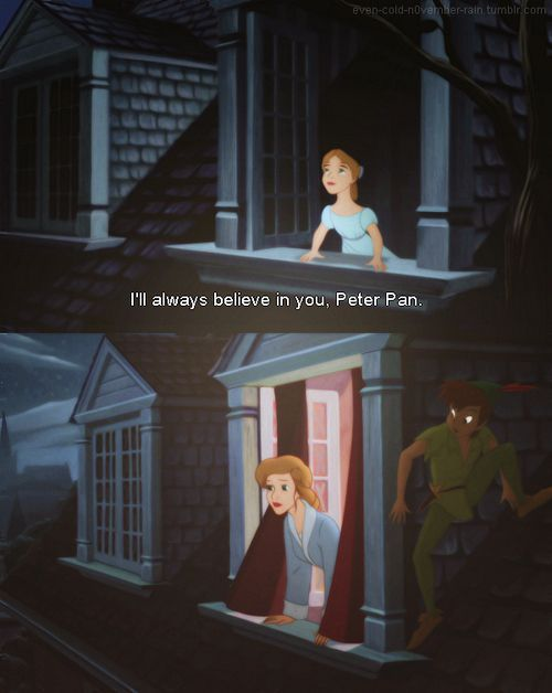 """Breaking up and Moving on Quotes : """"I cried during this scene of Peter Pan 2. I cried for Wendy all grown up."""