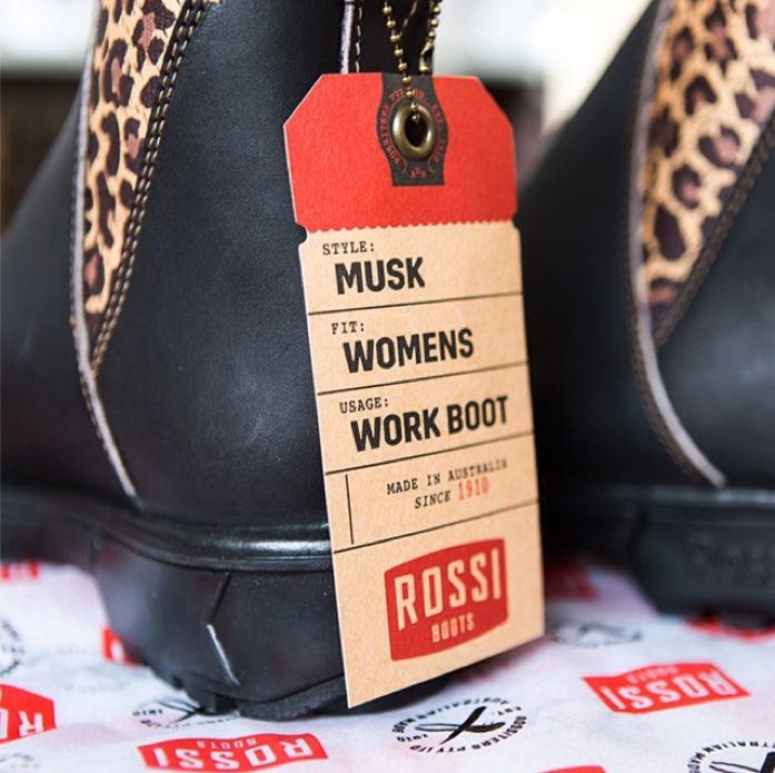 Rossi Boots 'Musk 343' leopard print boot. Designed and made in Australia. Packaging design by Frame Creative.