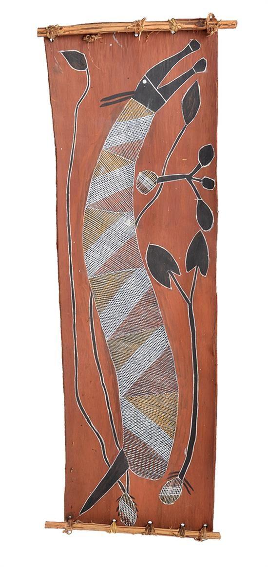 A BARK PAINTING BY DAVID MILABUNA, Arnhemland North Australia, depicting to