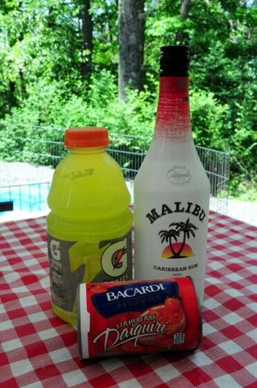 Liquid Skittles: 6 oz Malibu rum, 12 oz Frozen Daiquiri mix, 6 oz lemon/lime Gatorade