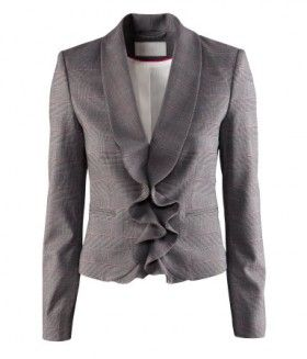 Short fitted jacket with ruffles and checkered pattern!