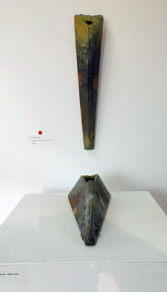 Ben Richardson -  Deflection - Spike series - Wall vase + table vase - Australian woodfire: Curator's choice, 8 July – 2 August 2015, Strathnairn Arts