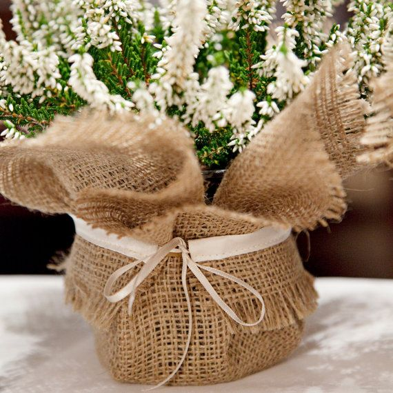 Burlap wedding plant wrap great rustic table by BaloolahBridal