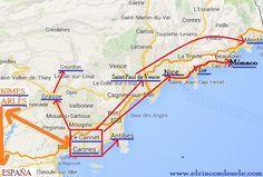 Mapa de la ruta en Provenza y Costa Azul (Francia)                                                                                                                                                     Más