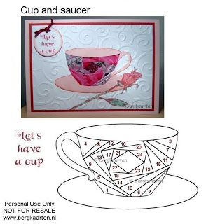 I know this isn't a quilt pattern, but could be...Tea Cup and Saucer Iris Fold Card - Irisvouwen