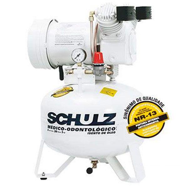 Compressor Odontologico Silencioso Schulz 30 litros 6 pés | Isento de Óleo - 220v