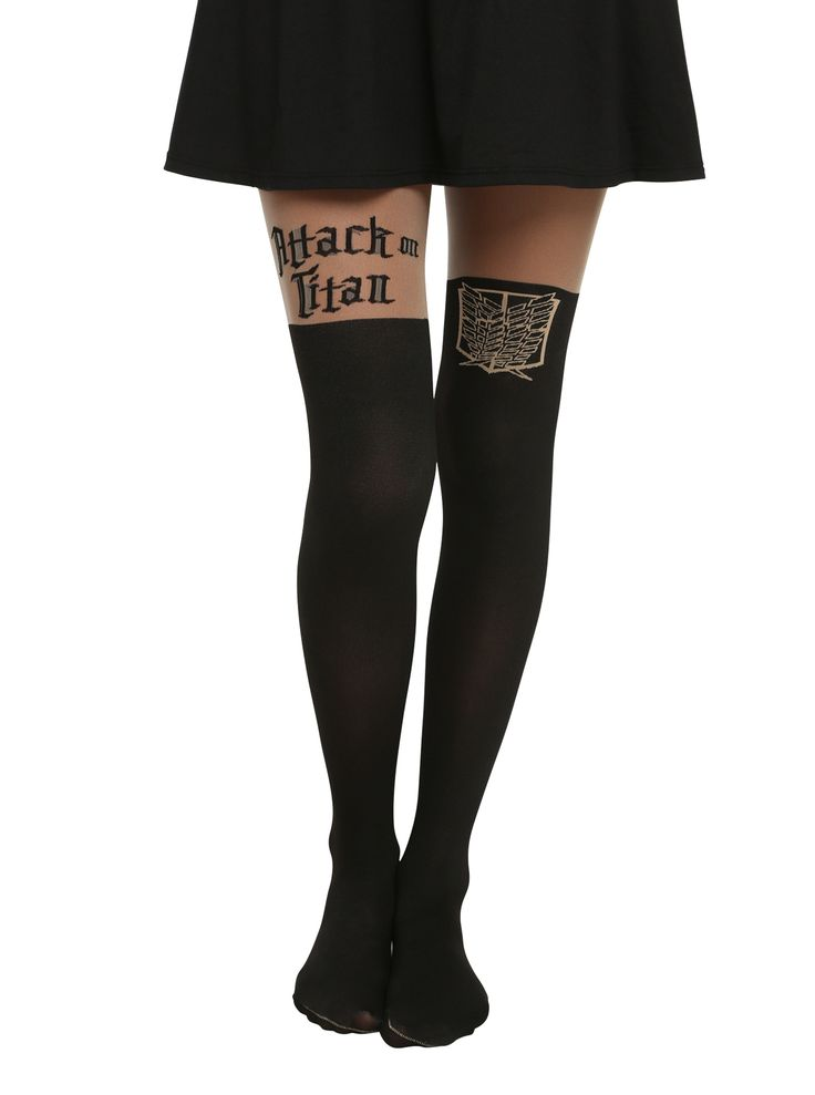 Attack On Titan Logo & Shield Faux Thigh High Tights | Hot Topic